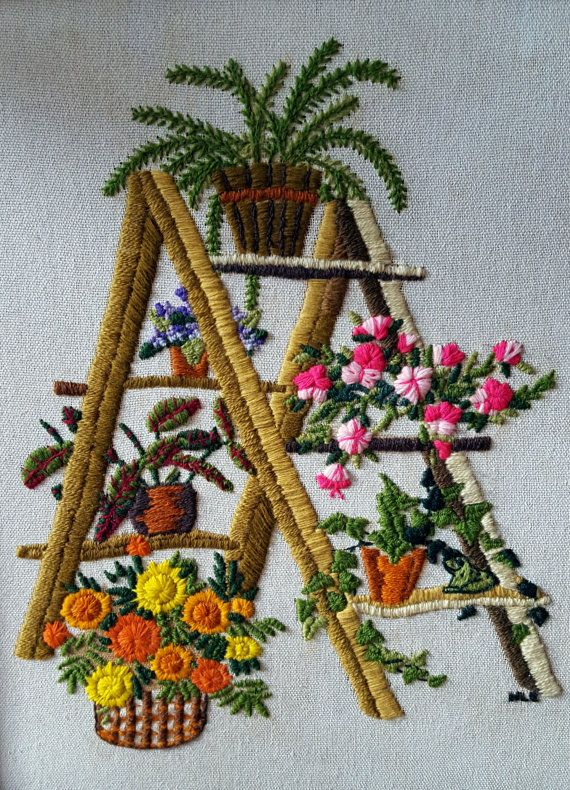 Vintage Pair of Crewel Framed Embroidery by SweetScoresVintage