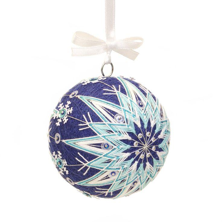 Christmas ornment inpired on Japanese art temari. Pattern - WINTER IS COMMING. Handmade by JoeyART.