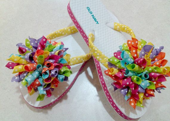 Boutique Bow Flip Flops Big and Bright Rainbow Korker Shoes for Toddler Child or Adult - Perfect for Birthdays and photo shoots