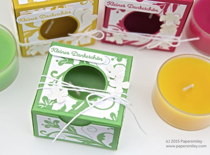 Verpackung für ein Maxi-Teelicht mit Produkten von Stampin Up!