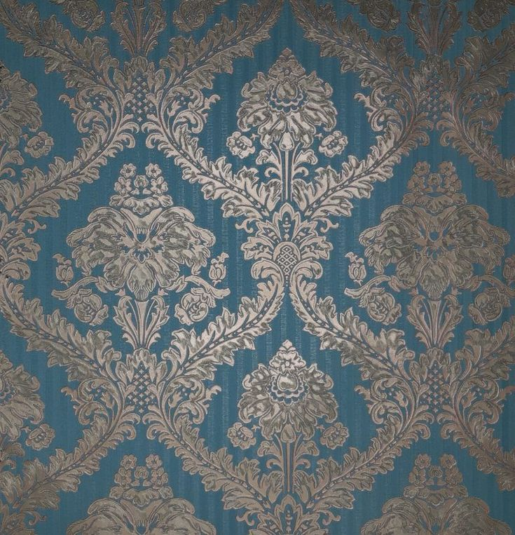 Uniwal Teal and Gold Damask Wallpaper DV1195 in 2020