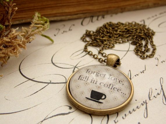 Coffee love necklace, coffee pendant, glass dome jewelry, vintage necklace, coffee stains