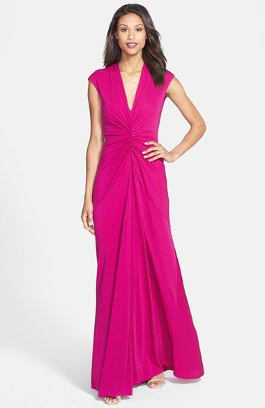 Nicole Miller Ruched Jersey A-Line Gown available at #Nordstrom