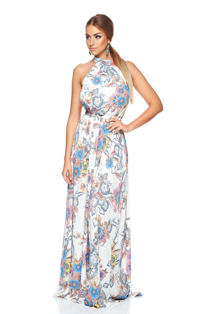 PrettyGirl Summer Delice White Dress, print details, cut back, elastic waist, is fastened around the neck, airy fabric, non-flexible thin fabric, women`s dress, nonelastic fabric