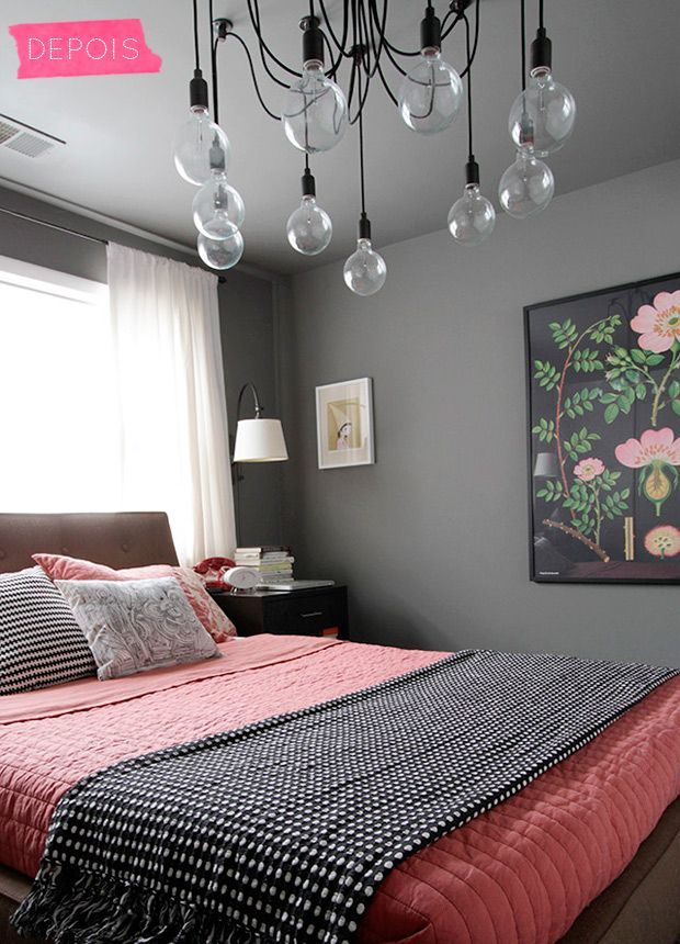 What an edgy bedroom! Not really for me but there are many ideas I can definitely use i.e. lighting fixture, grey color wall with pink papaya bedding, retro floral print on the wall etc.