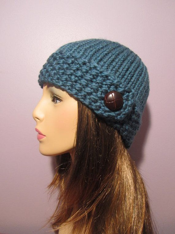 Knitting Pattern Hat With Button : 17 Best images about Knitted hats on Pinterest Moss ...