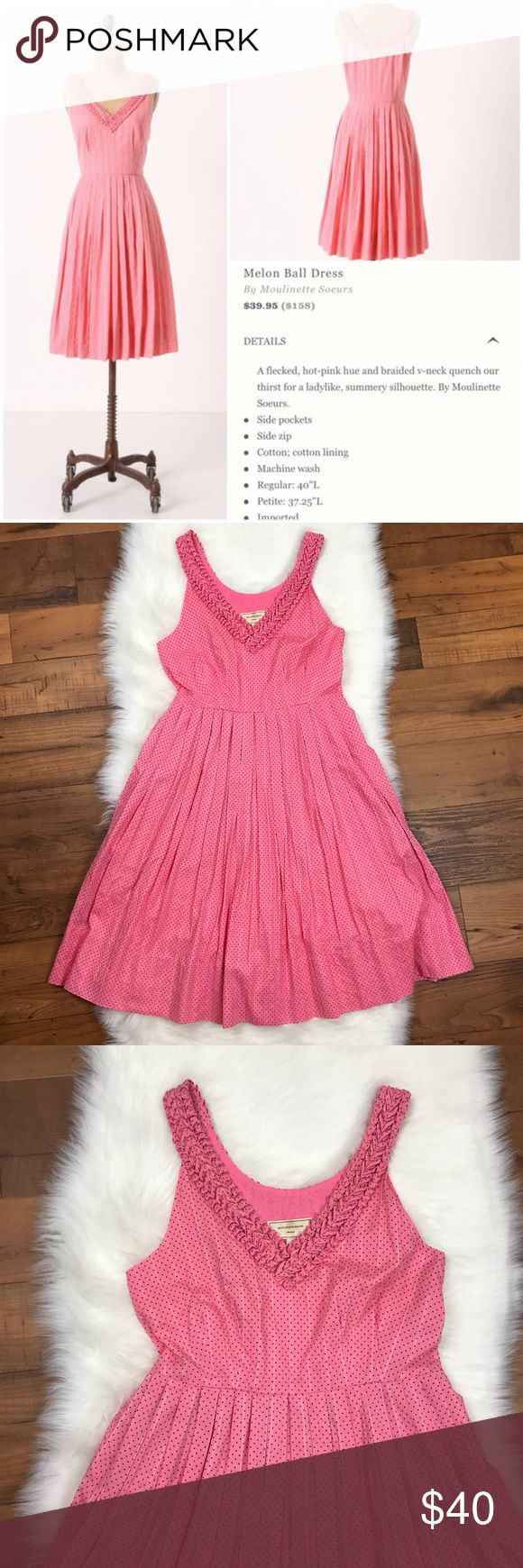 """Anthropologie Moulinette Soeurs Melon Ball Dress Anthropologie Moulinette Soeurs Pink Polka Dot Melon Ball Dress. Sleeveless. Pinup vibes. Regularly $158. Pleated Skirt. Size 0. Armpit to armpit is about 15.5"""". The length of the dress is about 37"""". Anthropologie Dresses"""