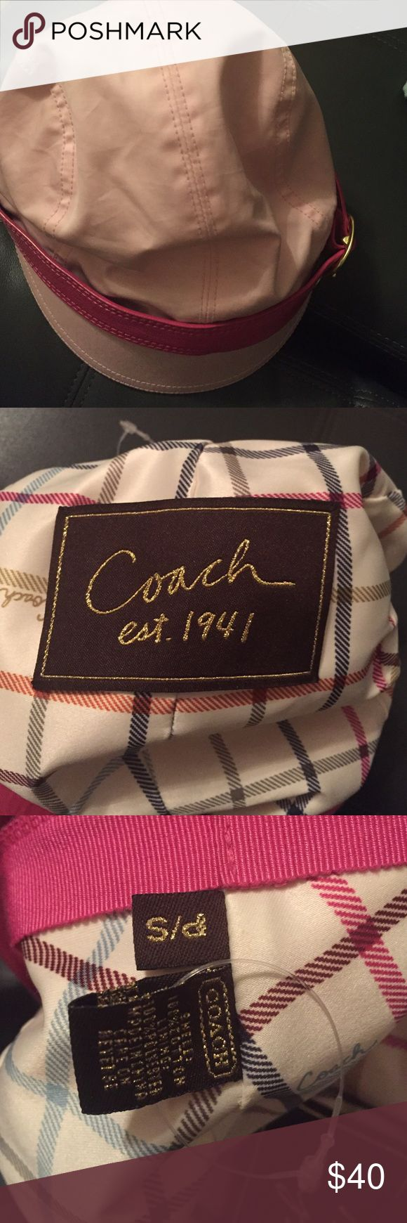 Brand new without tag Coach hat Pink Coach hat. Never worn , tags detached but new. Small stain from storage. See picture. Make an offer Coach Accessories Hats