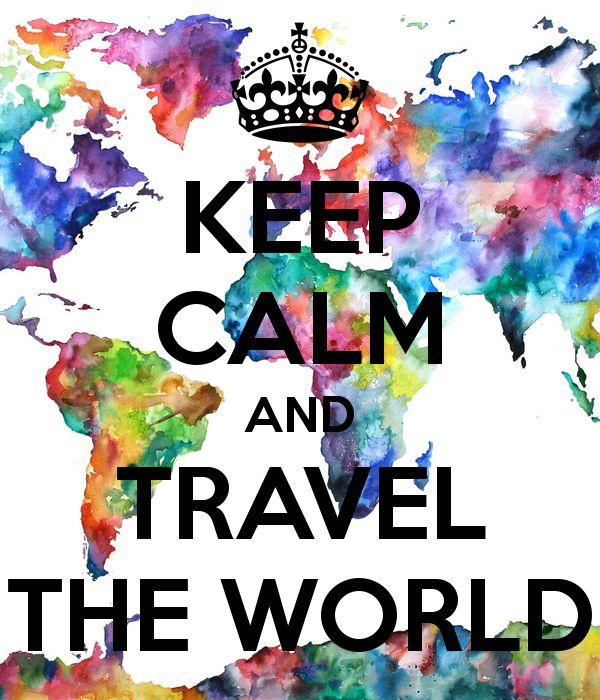 """Cette image représente la phrase """"Keep calm and travel the world"""" sur un fond de toute les couleurs de l'arc-en-ciel positionné pour former les pays et continent. Je l'ai choisie car un de mes rêve est de un jour, parcourir le monde et que les couleurs m'ont énormément attiré."""
