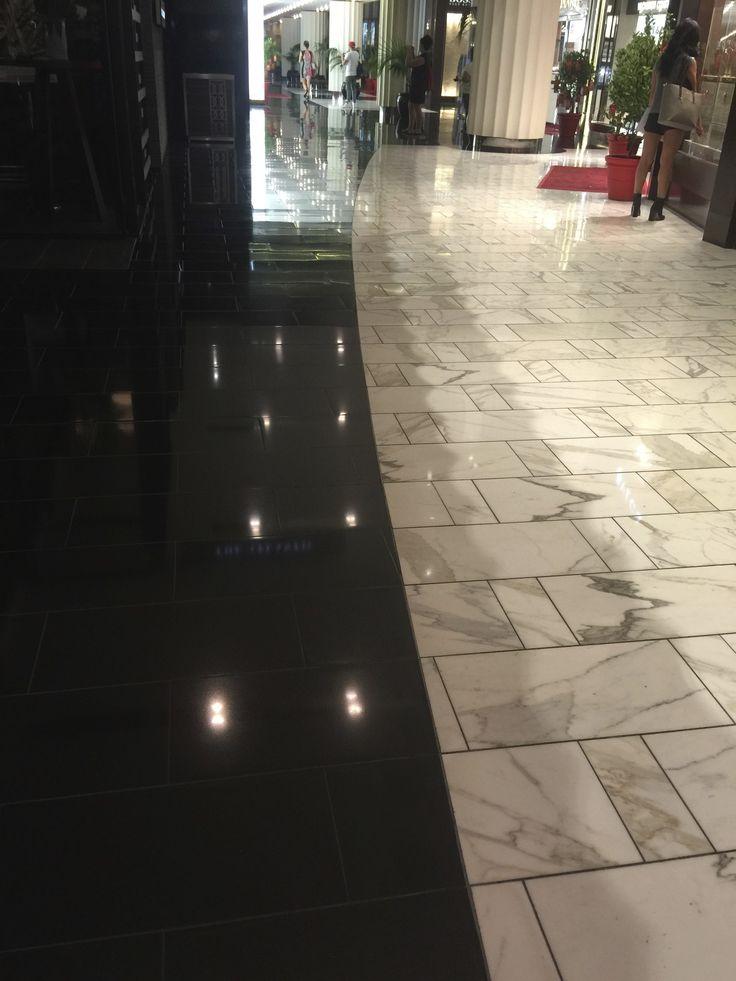 Marble tiled flooring.