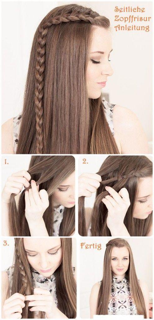 Peinado con pelo suelto y con una pequeña trenza sencilla