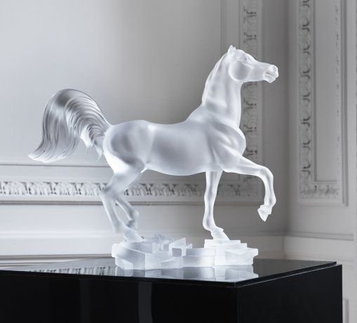"""Lalique Animals Bucephale Horse laanbuho $48,700.00 Limited Edition to 288 pieces. Clear. Height 13.78"""" Length 14.96"""" Width 5.5"""""""
