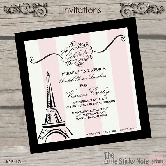 Paris Themed Bridal Shower Invitations on Etsy, $1.50