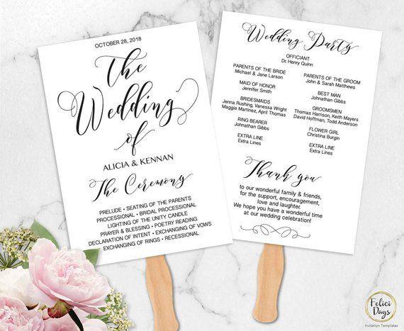Wedding Program Template, DIY Wedding Program Fan Editable