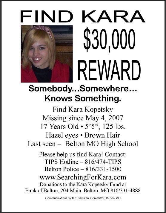 Kara Kopetsky, Missing Belton Missouri, www.missingperson...Peopleplea View