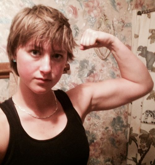 babe short hair selfie fitness girl just do it arm selfie motivation workout