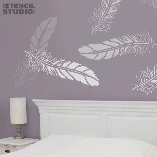Bohemian Feather Wall Stencil Reusable Stencils For Home: Large Feather Stencil For Wall