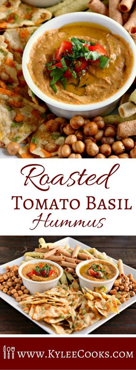This Roasted Tomato-Basil hummus is to die for.  Roasted tomatoes and garlic paired with olive oil and fresh basil, this is summer in a bowl! [ad] /saffronroadfood/ via /kyleecooks/