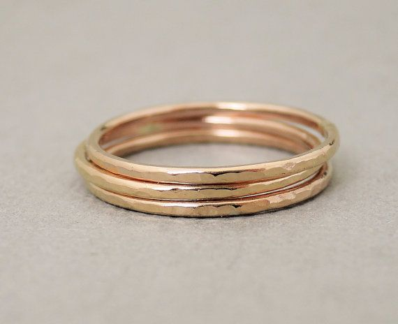 Rose Gold Rings three 16 gauge hammered rings by bluebirdss