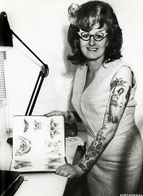 Tattoo artist Cindy Ray in her studio, Australia c. 1960's