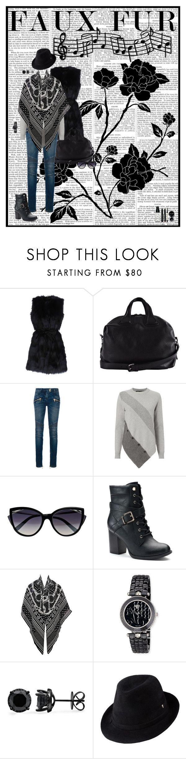 """Faux fur"" by bertoletka ❤ liked on Polyvore featuring Givenchy, Balmain, La Perla, Apt. 9, Hermès, Versace, Helen Kaminski, Bobbi Brown Cosmetics and fauxfur"