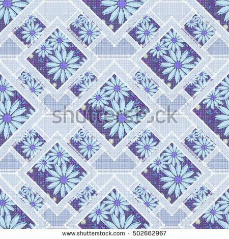 Patchwork abstract seamless floral, pattern texture light background with decorative elements. delicate blue flowers.
