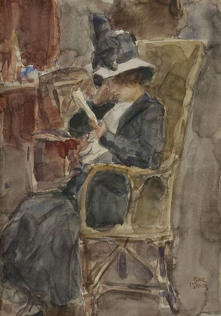 Israels I.L. | 'Isaac' Lazarus Israels, Vrouw met hoed, lezend, aquarel op  papier 50,7 x 35,4 cm, gesigneerd r.o. | Kunst ideeën, Aquarellen, Israël