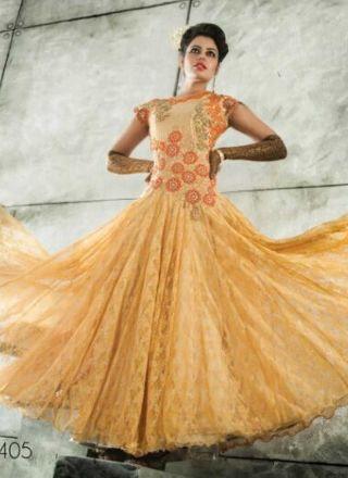 Lovely Cream Embroidery Work Brocade Fancy Net Gown