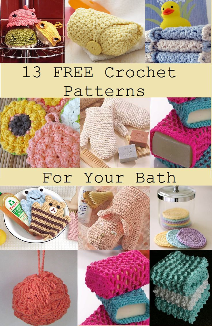 13 FREE Crochet Patterns For Your Bath - Free Crochet Patterns - (happinesscrafty.blogspot)
