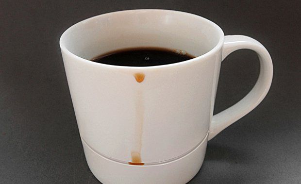 Amazing Inventions Coffee Cup with Compartment to Catch Drips  | www.piclectica.com #piclectica