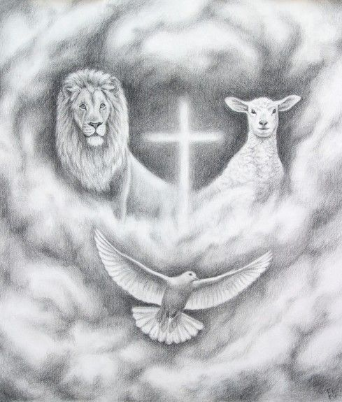 """""""The Lion and the Lamb"""" (Jesus), a lion on one side, a lamb on the other with the Holy Spirit as a flying dove and a cross. This is an illustration for a book about Aslan from the Chronicles of Narnia."""