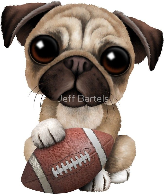 Cute Pug Puppy Dog Playing With Football Sticker By Jeff Bartels