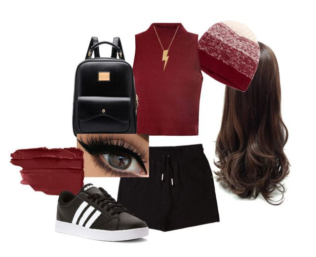 """""""bordeaux rood"""" by gde-2001 on Polyvore featuring &nd B, Qi Cashmere, Glamorous, adidas en Edge Only"""