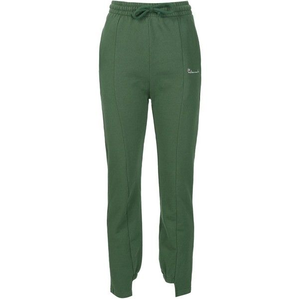 Vetements Push Up Sweatpants ($665) ❤ liked on Polyvore featuring activewear, activewear pants, all bottoms, bottoms, kirna zabete, green sweat pants, sweat pants and green sweatpants