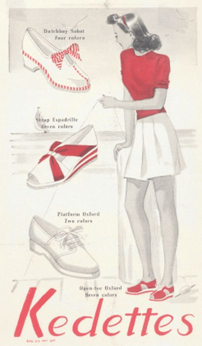 A charming warm weather themed Kedettes ad, 1940s. #vintage #shoes #ads