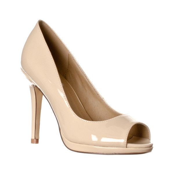 Women's Riverberry Women's 'Julia' Slight Platform Open Toe High Heel... ($27) ❤ liked on Polyvore featuring shoes, pumps, beige, pumps & heels, open-toe pumps, peep toe pumps, sexy platform pumps, platform shoes and high heel pumps