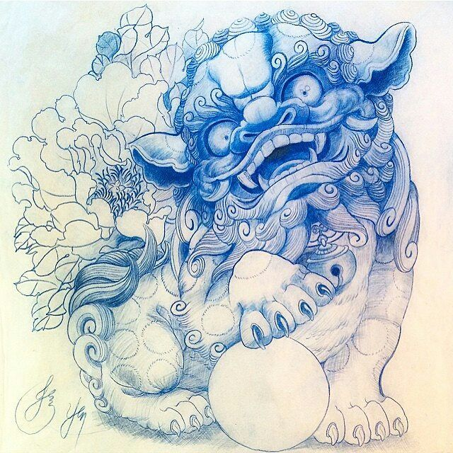 One of our favorite drawings by artist @jessyentattoo #FooDog #tattoosketch #tattoodesign #theartisthemotive .