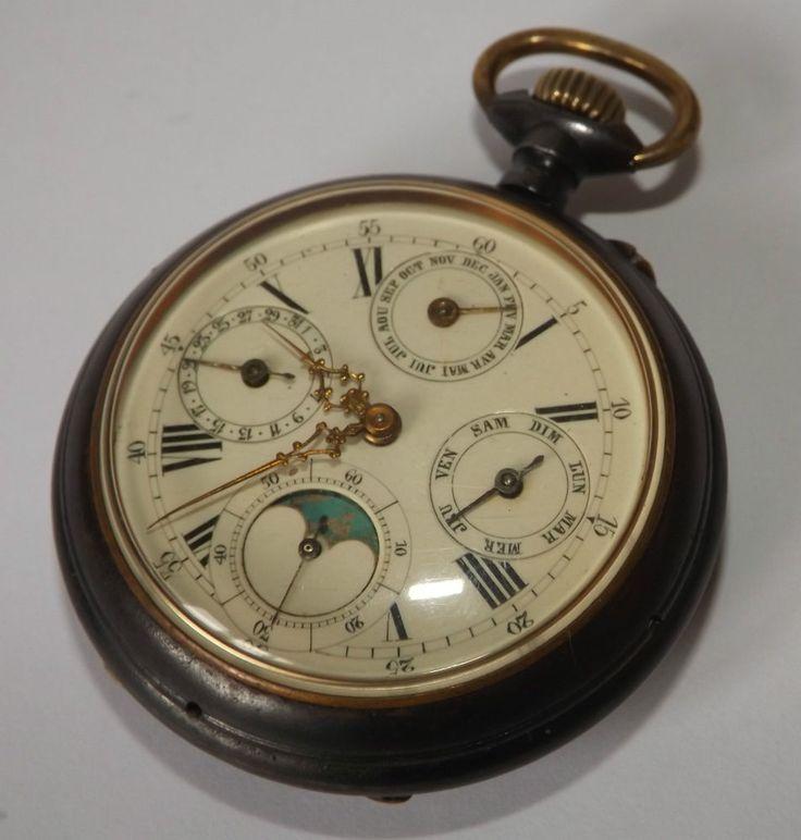 Antique Gun Metal Case Calandar Moon Phase Pocket Watch Working Needs Attention