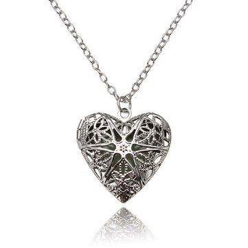 Steampunk Glow In The Dark Luminous Locket Heart Pendant Necklace at Banggood