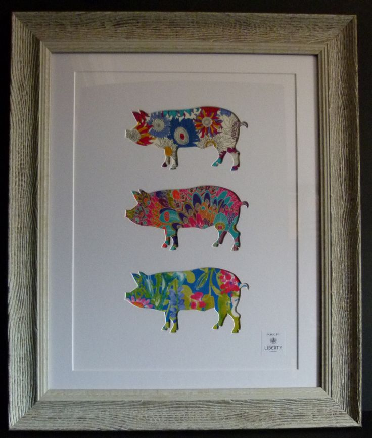 LIBERTY OF LONDON FABRIC FRAMED LARGE THREE PIGS PICTURE #2821