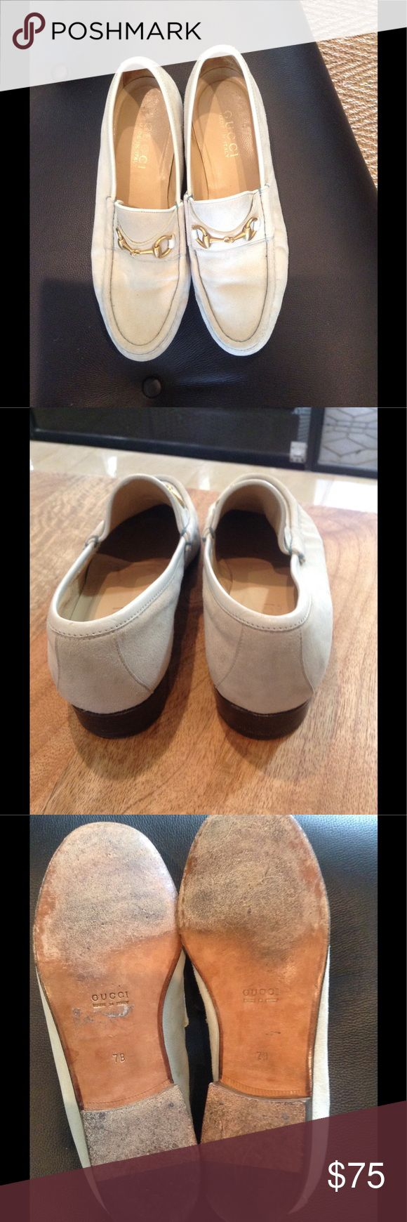 Gucci off white suede horse bit loafers Classic horse bit loafers.  Suede is in very good condition as are heels, with normal wear on bottoms.  Hard to find off white color in suede with gold horse bit. Shoes Flats & Loafers