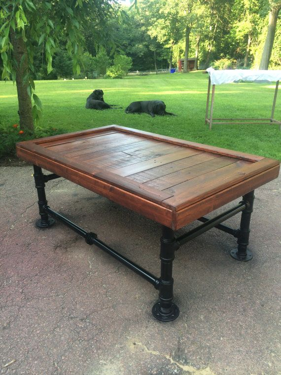 Black iron pipe coffee table by blackirontables on etsy for Diy galvanized pipe table