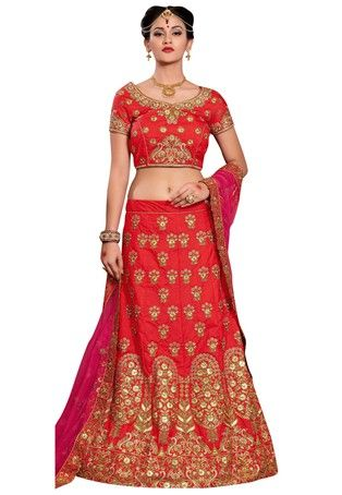 Red Mulberry Silk A Line Lehenga Choli #Bridal Lehenga Choli #BridalLehenga #LenghaCholi #WeddingWear #BridalWear #sale #dress #Lehenga #Choli #GhaghraCholi