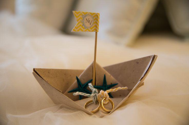 Porta alianças de casamento, barco de papel, Ring holder wedding, paper boat,  beach