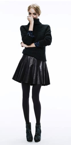leather skirt + turtleneck