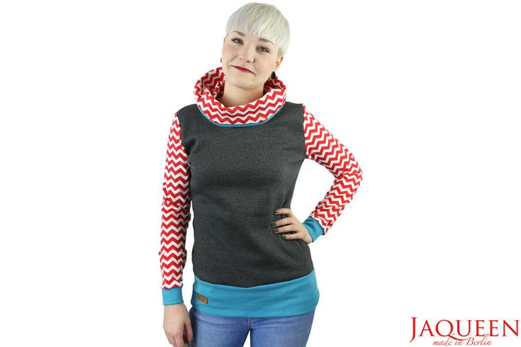 Hoodies - Hoodie grau Chevron Muster rot - ein Designerstück von JAQUEEN-handmade-streetwear-berlin bei DaWanda