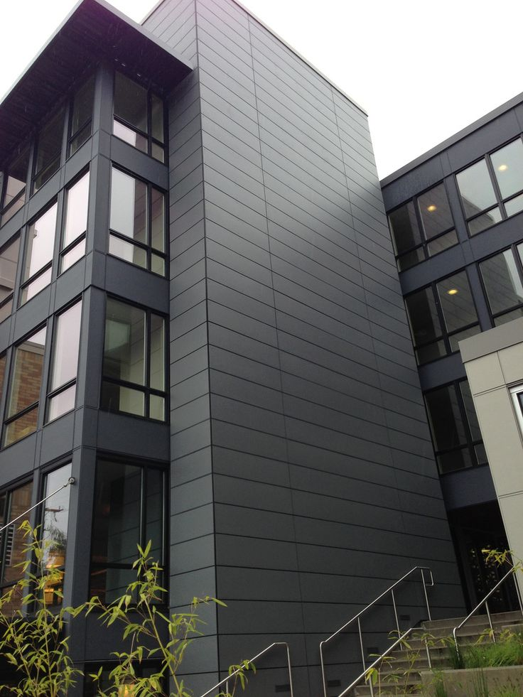 Gray Fiber Cement Boards on a rainscreen system. Designed by Runberg Architecture Group.