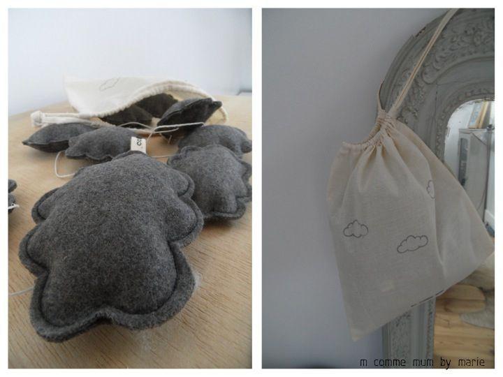 guirlande en laine grise et son sac