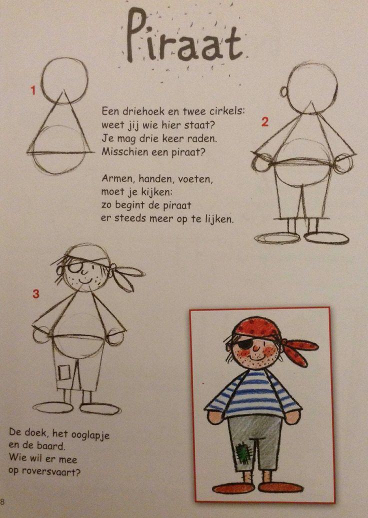 Drawing a pirate - Piraat leren tekenen
