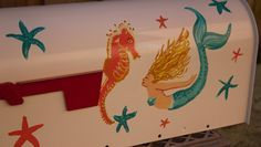 Mermaids and Starfish hand painted mailbox for sale